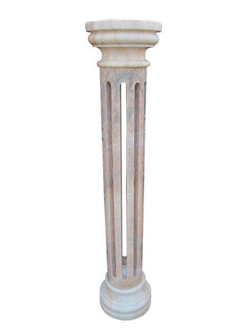 大理石 ポール 台座 コラム 透かし彫り 飾り台 天然石 花台 ピンク 大理石彫刻