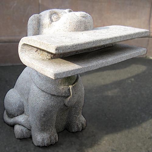 天然御影石彫刻 新聞スタンドドック