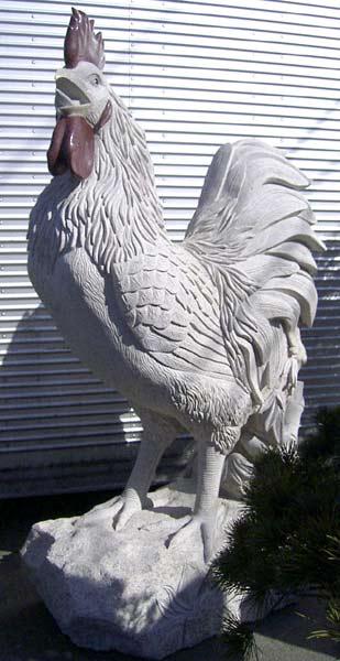 御影石彫刻 雄鶏 動物像 石像