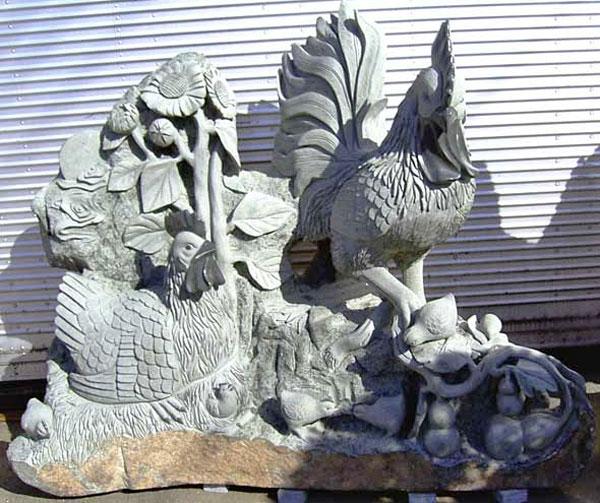 御影石彫刻 石像 ひまわりと鶏親子 動物像