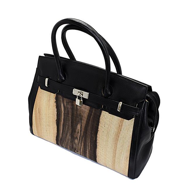【バッグ】黒柿バッグ(鍵付き・牛皮仕様)日本製品職人手作りかばんかばん 鞄 カバン バッグ 木製バッグ 木のバッグ
