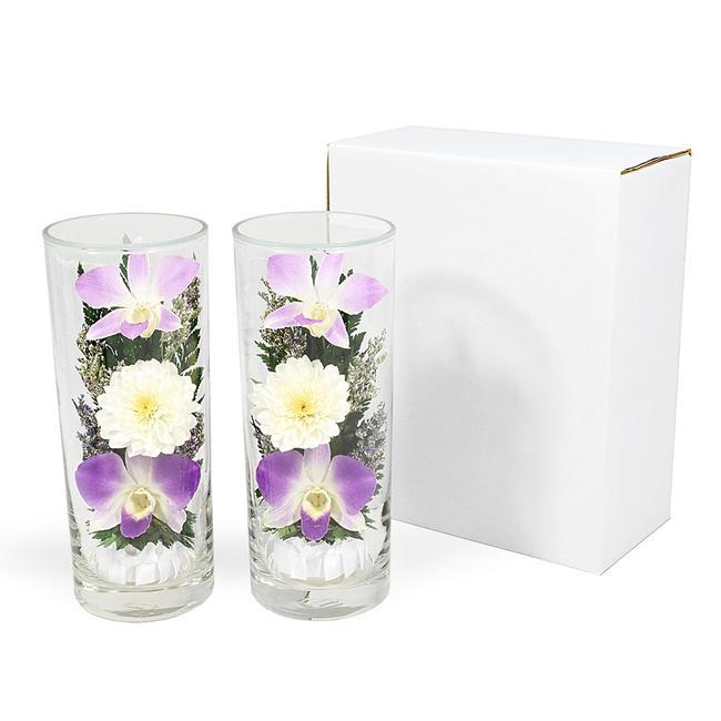 プリザーブドフラワー『グラスフラワーL0003』2本セット(箱付き)★ガラスの器入りLサイズ(高さ約17cm)きれいなプリザーブドフラワー プレゼントプリザーブドフラワー 観賞用プリザーブドフラワー 仏花 造花 お供え花 お盆仏花 お彼岸仏花