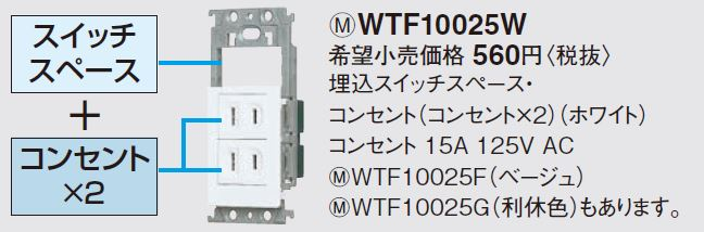 【あす楽対応_関東】パナソニック (Panasonic) スイッチスペース・コンセントセット WTF10025W