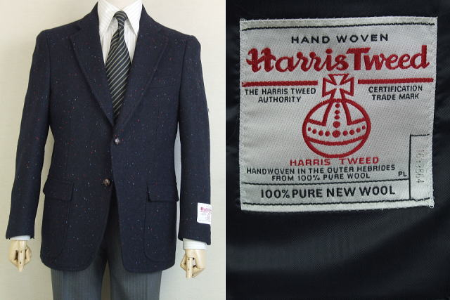【Harris Tweed ハリスツィード】【AB5】【日本製】【秋冬】2ボタンジャケット/紺無地(カラーネップ入り)