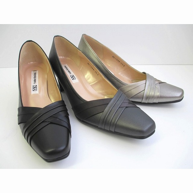 送料無料 ユキコ キミジマ Yukiko Kimijima yukiko kimijima 1244 レディース靴 革パンプス フォーマル靴 フレシャーズ 仕事履き 日本製 ブラック グレーメタ チャコール