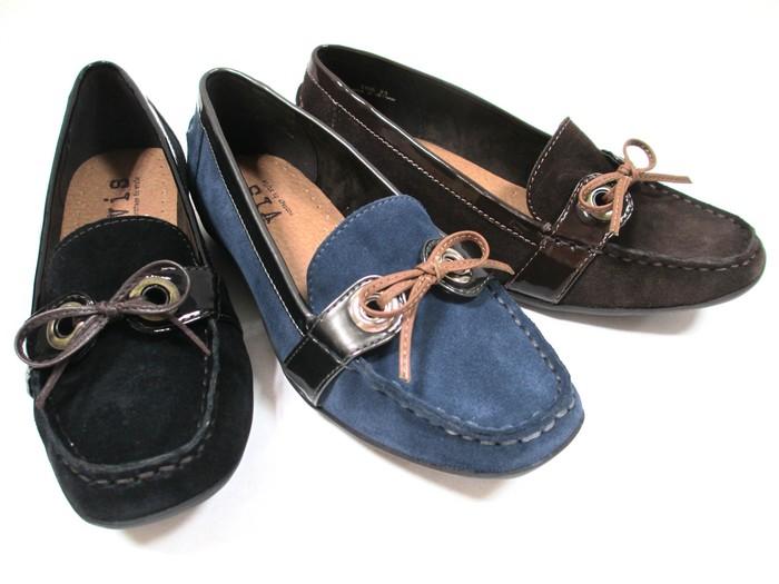 ビス ViS vis 3106 レディース 天然皮革 フラット リボン スエード カジュアル靴 スクエアトゥ 通勤靴 仕事靴 ブラックS ネイビーS ダークブラウンS