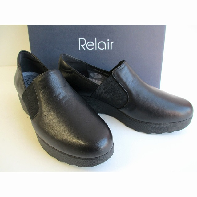 リレア Relair 3742 レディース 天然皮革 ウエッジヒール コンフォート靴 厚底 仕事靴 通勤靴 ブラック