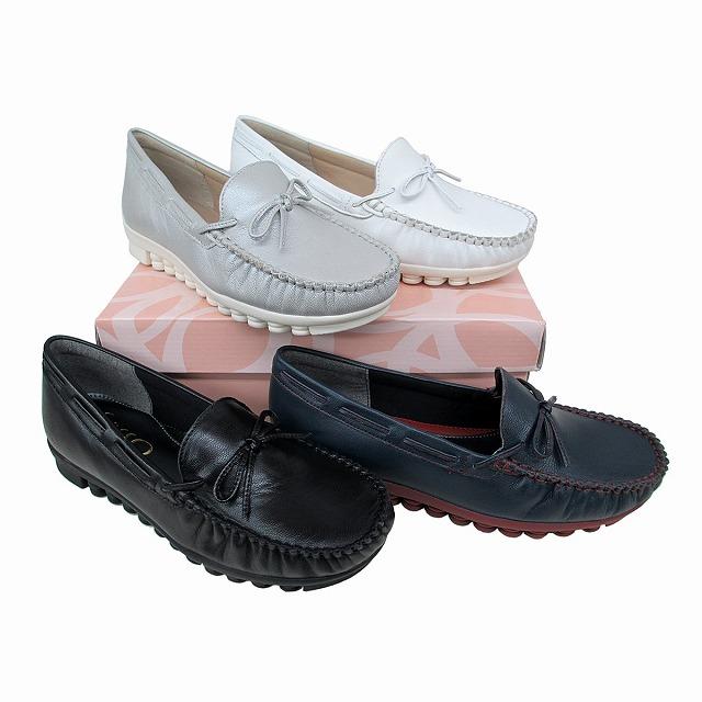 サッソー Sasso 294 レディース カジュアルシューズ モカシン 革靴 リゾート靴 仕事靴 リボン付き ブラック ネイビー シルバー ホワイト