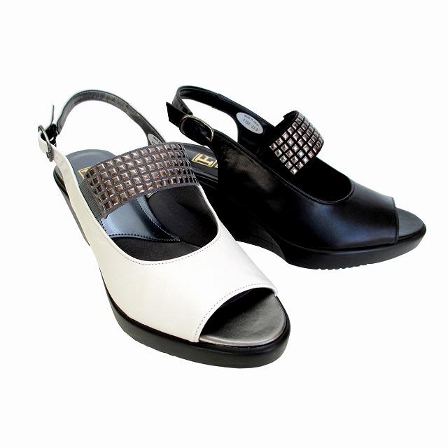 フィズリーン FIZZ REEN fizzreen 1755 レディース ウエッジヒール サンダル 通勤靴 仕事履き ブラック ホワイト
