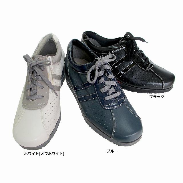 エアリーステップ Airy Step 2913 レディース 天然皮革 レースアップシューズ 厚底 スニーカー ジッパー ウエッジソール 仕事靴 通勤靴 ブラック ブルー ホワイト