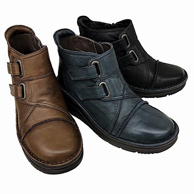 ビス vis 98001 レディース ショートブーツ ウエッジヒール 通勤靴 ブラック ネイビー ダークブラウン