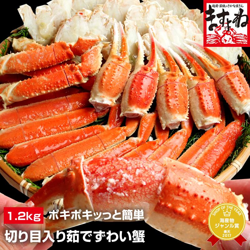 ポキポキッっと簡単に殻むき体験!切り目入り茹でずわい蟹大盛り1.2kg(600g×2)[ボイル/蟹足][送料無料](かに/カニ/蟹…