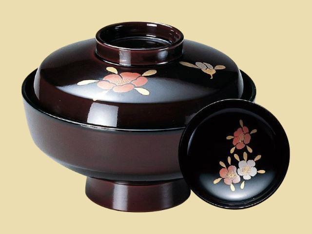 煮物椀。本漆塗・手描き磨蒔絵。 4寸直天竜寺椀 溜山茶花