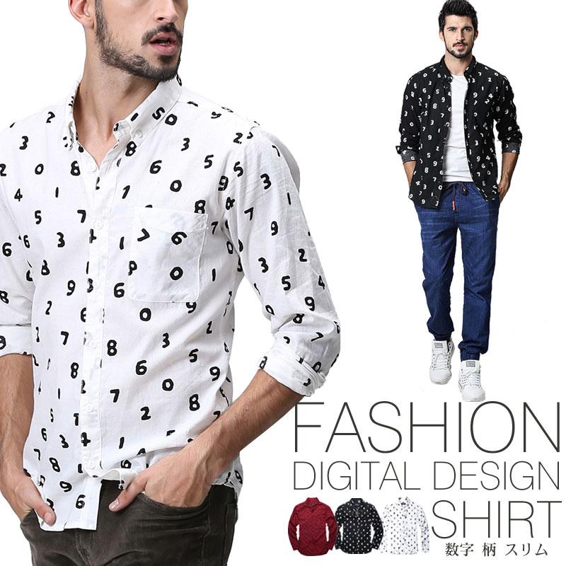 カジュアルシャツ コットンシャツ 大きいサイズ メンズ 春夏 カジュアル 綿 長袖 スリム 半額 数字柄 ホワイト ブラック 10%OFFクーポン対象 送料無料 シャツ L XL モーブ MATCH麻吉 予約販売商品 2XL トップス セールSALE%OFF 3XL M 4XL 5XL 長袖シャツ