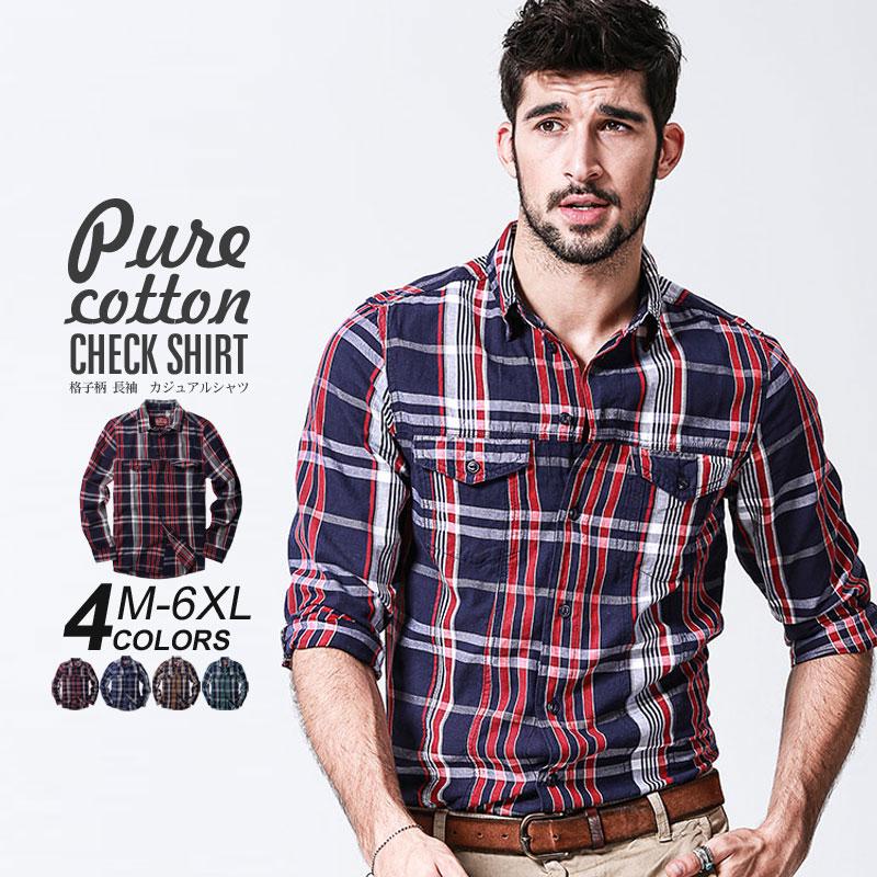 チェックシャツ メンズ コットンシャツ 大きいサイズ カジュアル 綿 長袖 ポイント20倍 送料無料 セール 登場から人気沸騰 4XL ディスカウント 春 5XL MATCH麻吉 ネルチェックシャツ 6XL ロングシャツ 冬