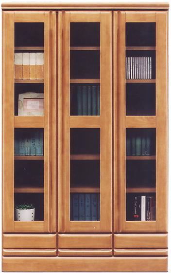 ラバーウッド無垢材を使用した日本製の書棚 本のサイズに合わせて高さ調節が可能な可動棚付き 【開梱設置送料無料】本棚 書棚 完成品 幅90 扉付き 国産 ライトブラウン ガラス扉 奥行40cm 高さ145cm ブックシェルフ 木製 壁面収納 オフィス シンプル 大川家具 送料無料