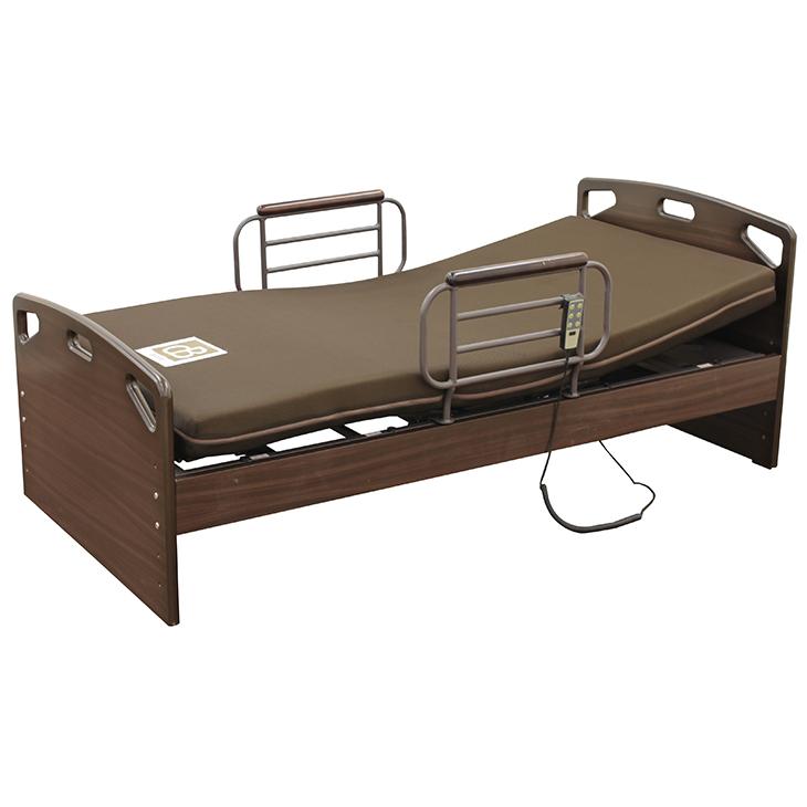 電動ベッド リクライニングベッド ベッド シングルベッド マットレス付 リモコン操作 2モーター 非課税 介護 介護ベッド 手すり付 民泊 送料無料
