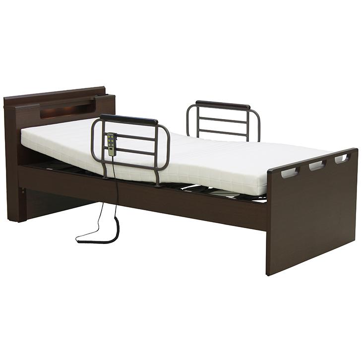 電動ベッド リクライニングベッド ベッド シングルベッド マットレス付 リモコン操作 1モーター 非課税 介護 介護ベッド 手すり付 LED照明付 コンセント付 民泊 送料無料