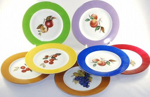 PHILIPPE DESHOULIERES(フィリップ・デズリエール)アップル、チェリー、ピーチ、マスカットフルーツ柄 7枚プレートセットプレゼント ギフト 贈リ物 祝 お祝い 記念品