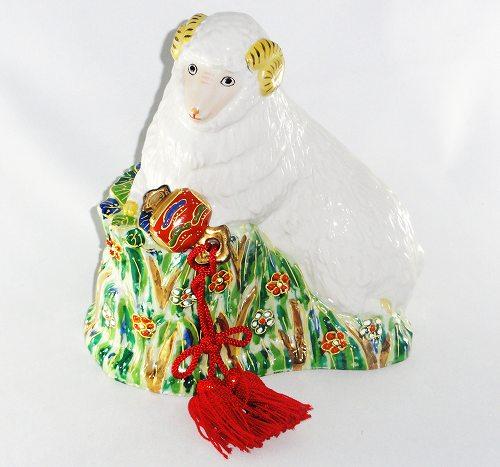 九谷焼 清香作 未置物未 羊 ひつじ 人形 置物 縁起物 干支飾り ギフト 贈リ物 祝 お祝い 記念品