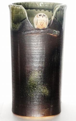 信楽焼 とまり木(ふくろう) 陶器 傘立て【送料無料】プレゼント ギフト 贈リ物 新生活 北欧 雑貨 お洒落 おしゃれ オシャレ 綺麗 キレイ 可愛い カワイイ