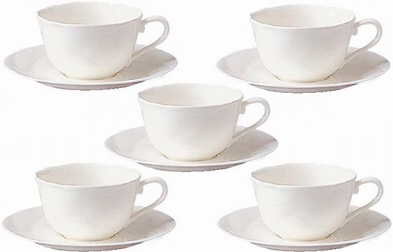 ノリタケ<Noritake>アンサンブルホワイト ティー・コーヒーカップ&ソーサー(5客セット)【送料無料】プレゼント ギフト 贈リ物 祝 お祝い 記念品 食器 セット 可愛い 引き出物 引出物 内祝い お返し 出産内祝い 快気祝い