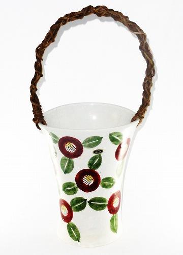 信楽焼 椿絵 つる付花瓶 陶器 花器 花入 フラワーベース プレゼント ギフト 贈リ物 祝 お祝い 記念品