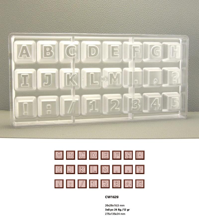 【30%OFF】【MATFER】チョコレートモールド 1000SCW1628・CW1629/キーボードボタンアルファベット2枚セット26×26×18.5mm【11,000円(税込)以上で送料無料になります】