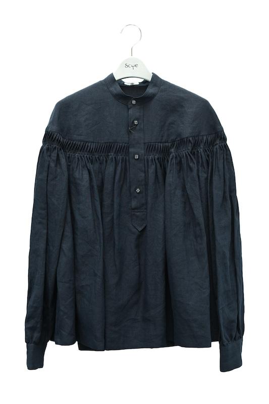 Scye リネン高密度タックシャツ 在庫一掃売り切りセール Scyeオリジナルハンガーをもれなくプレゼント 注文後の変更キャンセル返品 col.ダークネイビー
