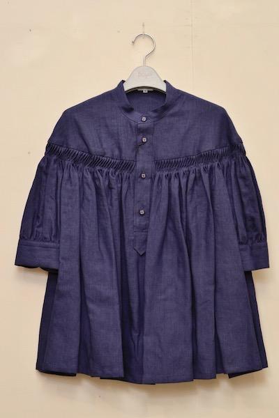 Scye 半袖 リネン コットンタックシャツ (Scyeオリジナルハンガーをもれなくプレゼント) col.85(NAVY)