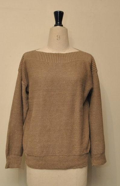 Cristaseya クリスタセヤ  Edition#06 #26M-K Linen boatneck sweater リネンボートネックセーター  col.KAKI