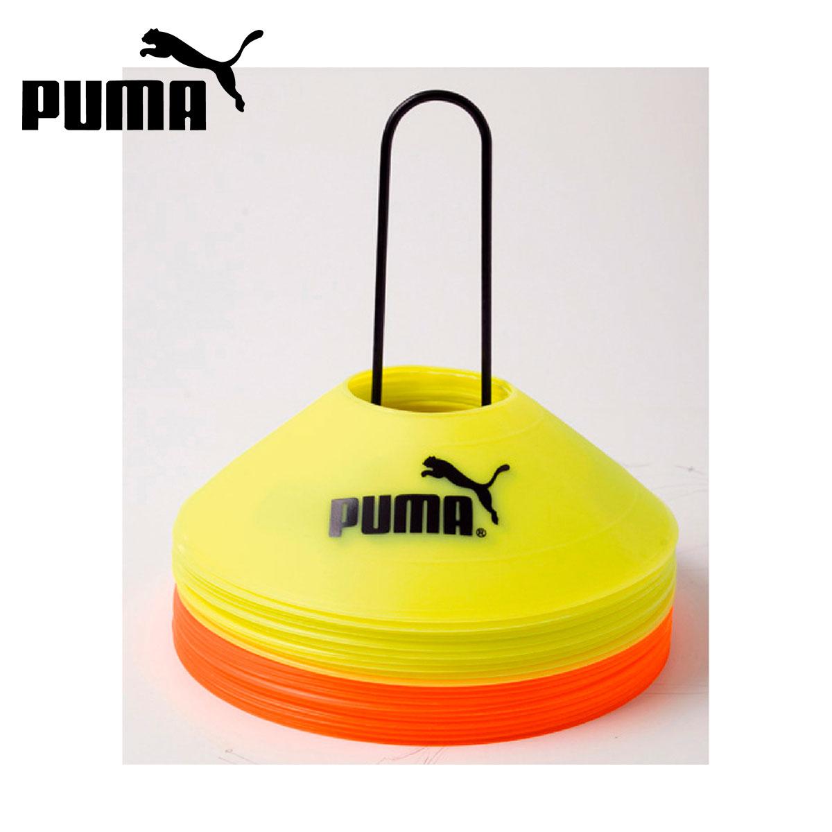 PMJ-052825 おすすめ オレンジとイエローカラーのマーカーがそれぞれ10個 計20個が1セットのトレーニング用マーカー ホルダー付 PUMA 20 サッカーマーカーコーン マーカーセット プーマ 国内正規総代理店アイテム