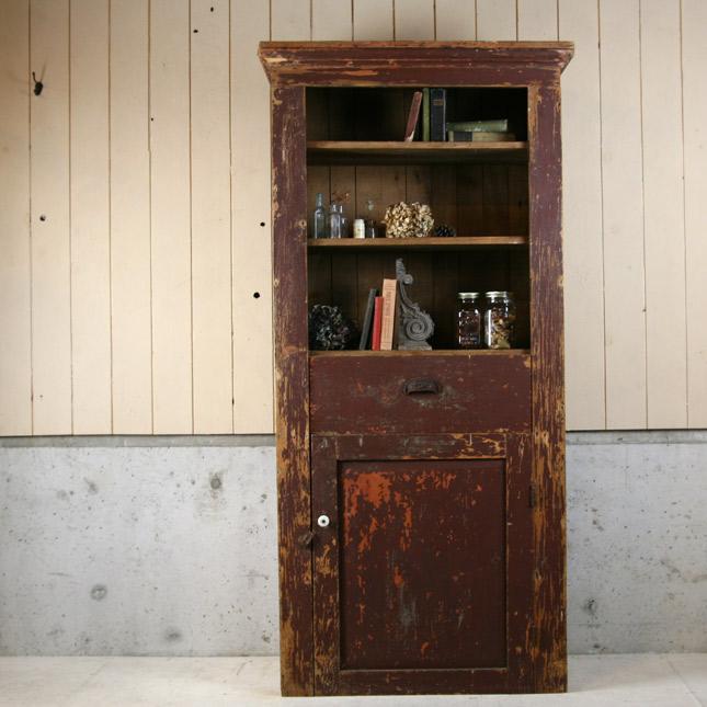 古い木製食器棚...収納棚..書籍棚..シェルフ【アメリカンアンティーク】【中古】