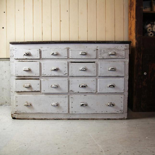 【アメリカンアンティーク】 1920s painted wooden shelf -古い木製の棚- 【中古】 家財便 送料別