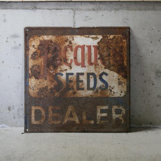【アメリカンアンティーク】 old seed shop tin plate 古い看板 【中古】