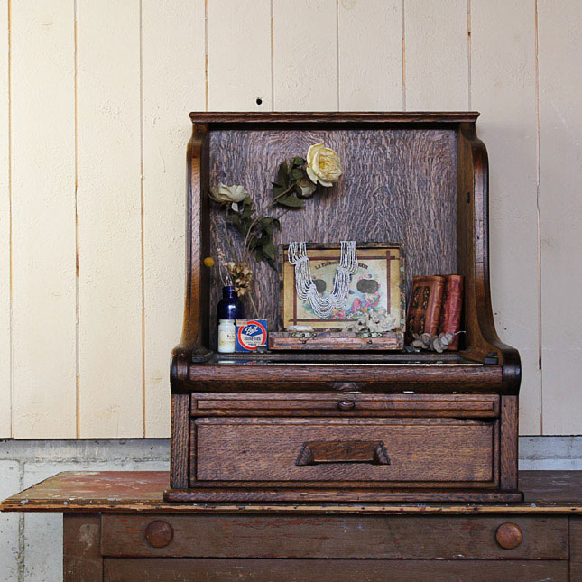 【アメリカンアンティーク】 antique disply case wooden made -古い木製のディスプレイケース- 【中古】 家財便 送料別