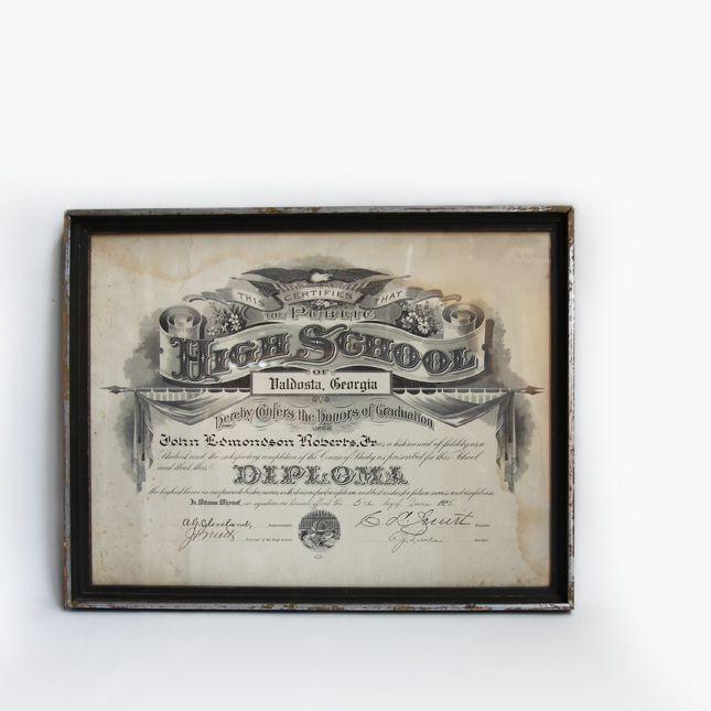 【送料無料】【アメリカ古着】【中古】 1925's HIGH SCHOOL GRADUATION FLAME OF PAPER - 古いハイスクールの卒業証書 -