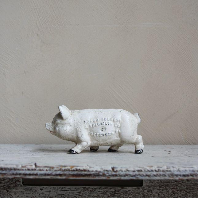 【送料無料】~1940's CAST IRON PIG BANK -鋳鉄製の古い貯金箱- 【アメリカンアンティーク】【中古】