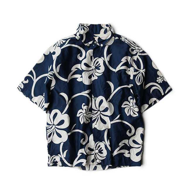 【送料無料】~60年代 KRAMERS コットン ハワイアン シャツ ABOUT S/M【中古】カジュアル 60's アメリカ古着 メンズ古着 ヴィンテージ ブルー アロハ シック ホノルル ハイビスカス 紺 ネイビー