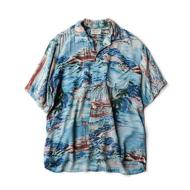 【送料無料】~60年代 HOWE STREET アロハ シャツ SIZE M【中古】カジュアル 60's アメリカ古着 メンズ古着 ヴィンテージ ブルー ハワイ ヤシ 風景