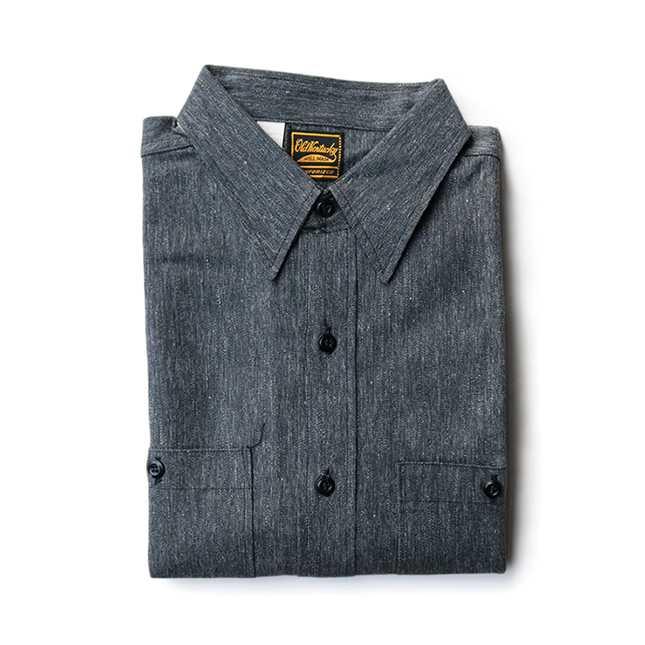 【送料無料】NOS 50年代 OLD KENTUKY ブラック シャンブレー シャツ【中古】カジュアル 50's アメリカ古着 メンズ古着 ヴィンテージ グレー デッドストック 未使用 オールド ケンタッキー