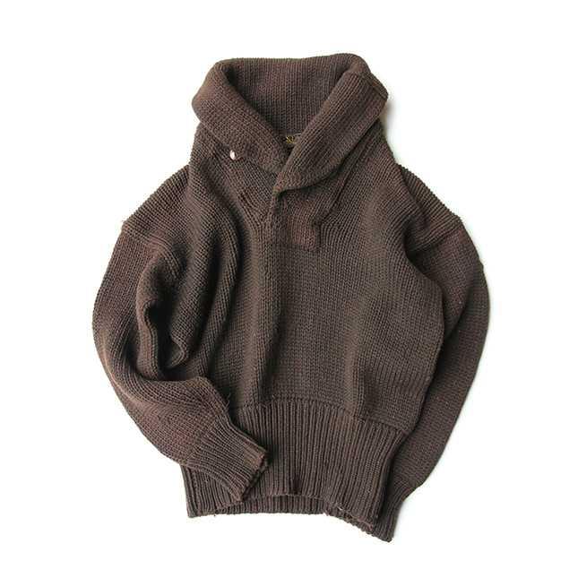 【送料無料】~20s STAG BRAND ショール カラー セーター【中古】 アメリカ古着 メンズカジュアル 茶 ブラウン ウール ニット ビンテージ 20年代