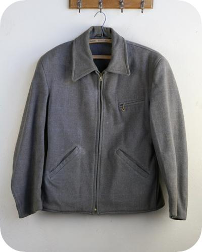【送料無料】40年代 ヴィンテージ ウール ジャケット【中古】アメリカ古着 メンズ 40s スポーツ アウター タロン ジッパー グレー