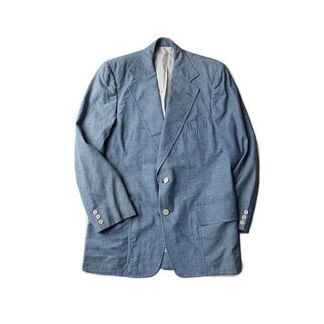 【送料無料】60年代 RAY BOLGER シャンブレー サマー ジャケット【中古】メンズカジュアル アメリカ古着 アウター 60s ヴィンテージ アウター コットン ブルー 水色