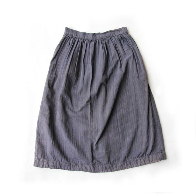 【送料無料】~30年代 フランス 製 コットン スカート【中古】レディース古着 大人古着 ブルー グレー 灰色 ヴィンテージ フレンチ