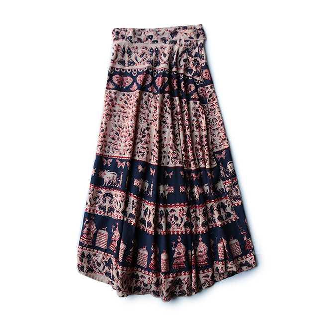 【送料無料】70年代 デッドストック インド綿 ラップ スカート【中古】レディース古着 大人古着 カジュアル 巻きスカート エスニック 70s ベージュ 民族