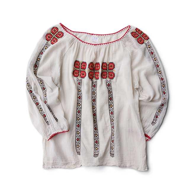 【送料無料】ヴィンテージ ルーマニア 刺繍 チュニック ブラウス【中古】アメリカ 古着 レディス カジュアル カットソー 白 ホワイト トップス