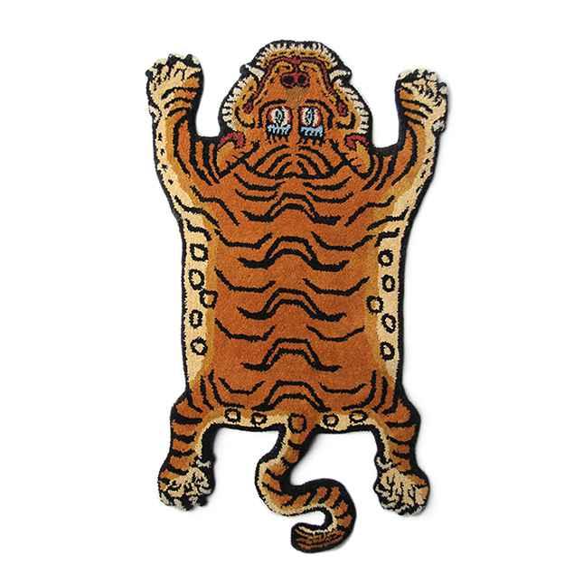 """【送料無料】【TS】 チベタン タイガー ラグ """"DTTR-01 / MEDIUM""""【新品】Tibetan Tiger Rug M カジュアル インテリア おしゃれ 雑貨 虎 トラ チベット 絨毯 玄関 リビング マット 手作業"""