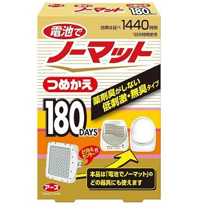 高品質 ☆ コンセントのいらない電池式蚊とり 電池でノーマット つめかえ 180日用 スーパーセール 1個入 アース製薬
