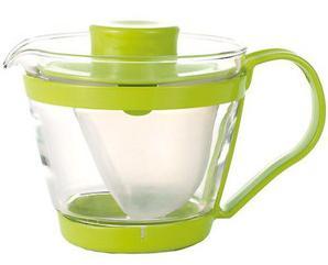 ☆大きな茶漉しで茶葉が良く広がります ☆ レンジのポット 茶器 贈呈 高品質新品 グリーン イワキ 400ml AGCテクノグラス